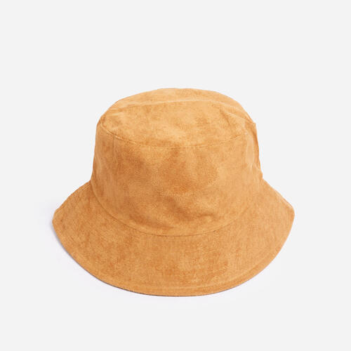 Reversible Bucket Hat In Nude Faux Suede