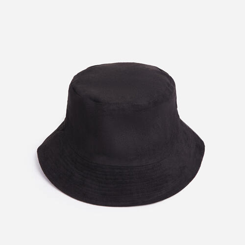 Reversible Bucket Hat In Black Faux Suede