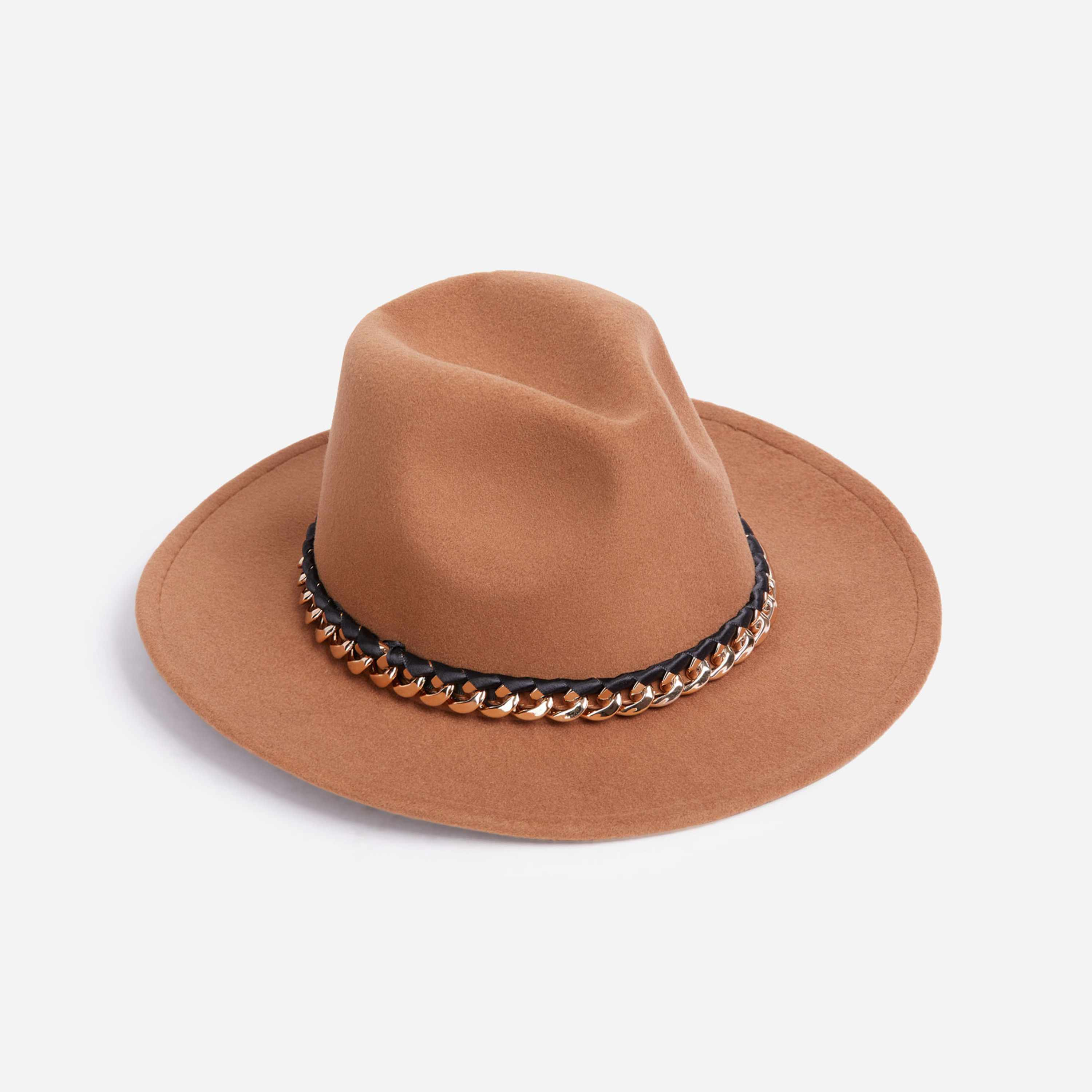 Chain Detail Felt Fedora Hat In Nude