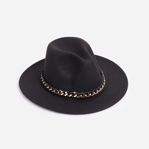 Chain Detail Felt Fedora Hat In Black