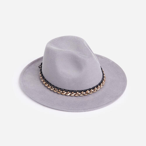 Chain Detail Felt Fedora Hat In Grey