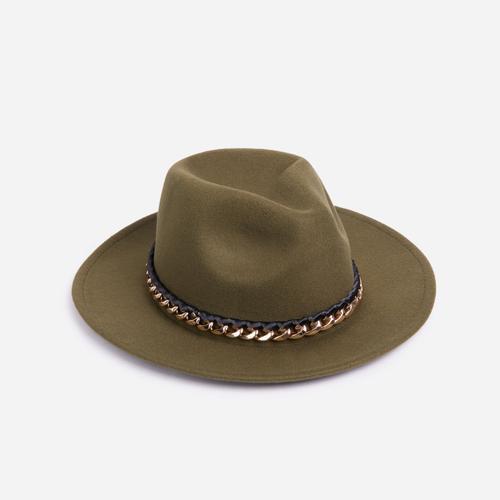Chain Detail Felt Fedora Hat In Khaki Green