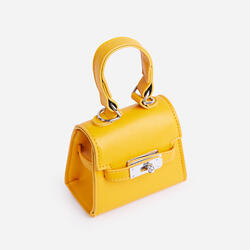 Charlie Lock Detail Mini Bag In Yellow Faux Leather