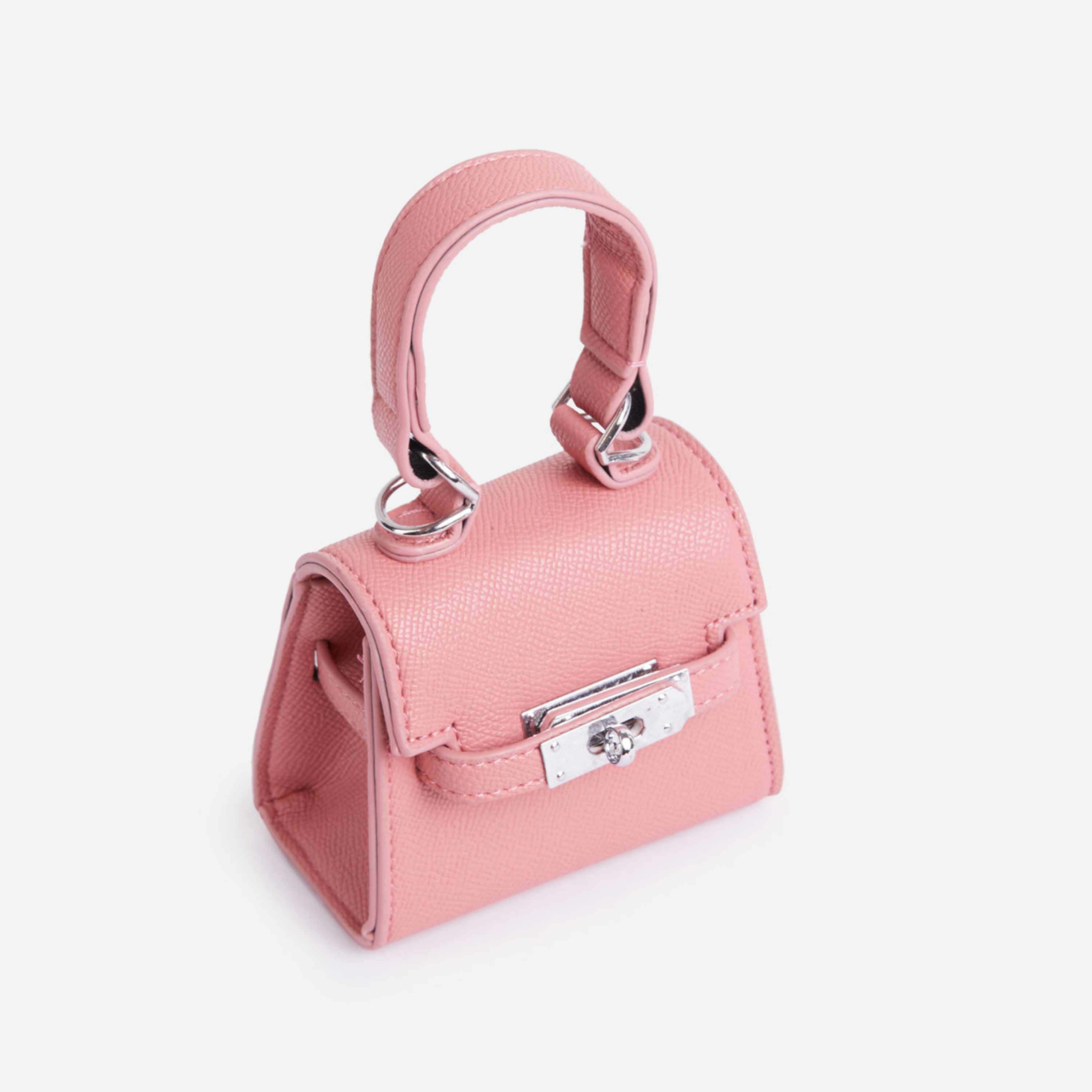 Charlie Lock Detail Mini Bag In Pink Faux Leather