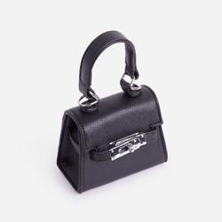 Charlie Lock Detail Mini Bag In Black Faux Leather