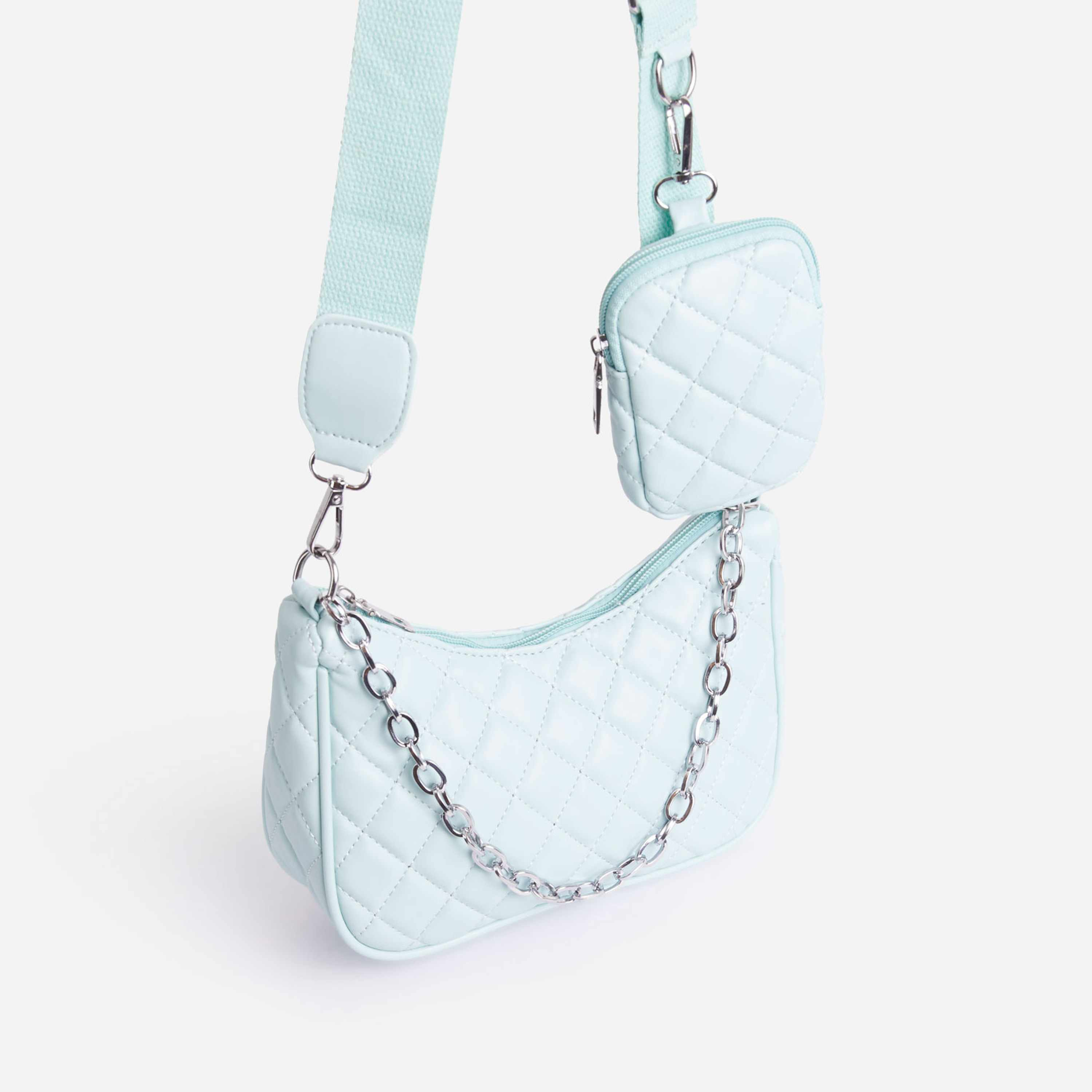 Rogan Purse Detail Quilted Cross Body Bag In Blue Faux Leather