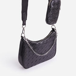 Weave Woven Purse Detail Cross Body Bag In Black Faux Leather