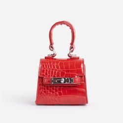 Charlie Lock Detail Mini Bag In Red Croc Print Faux Leather