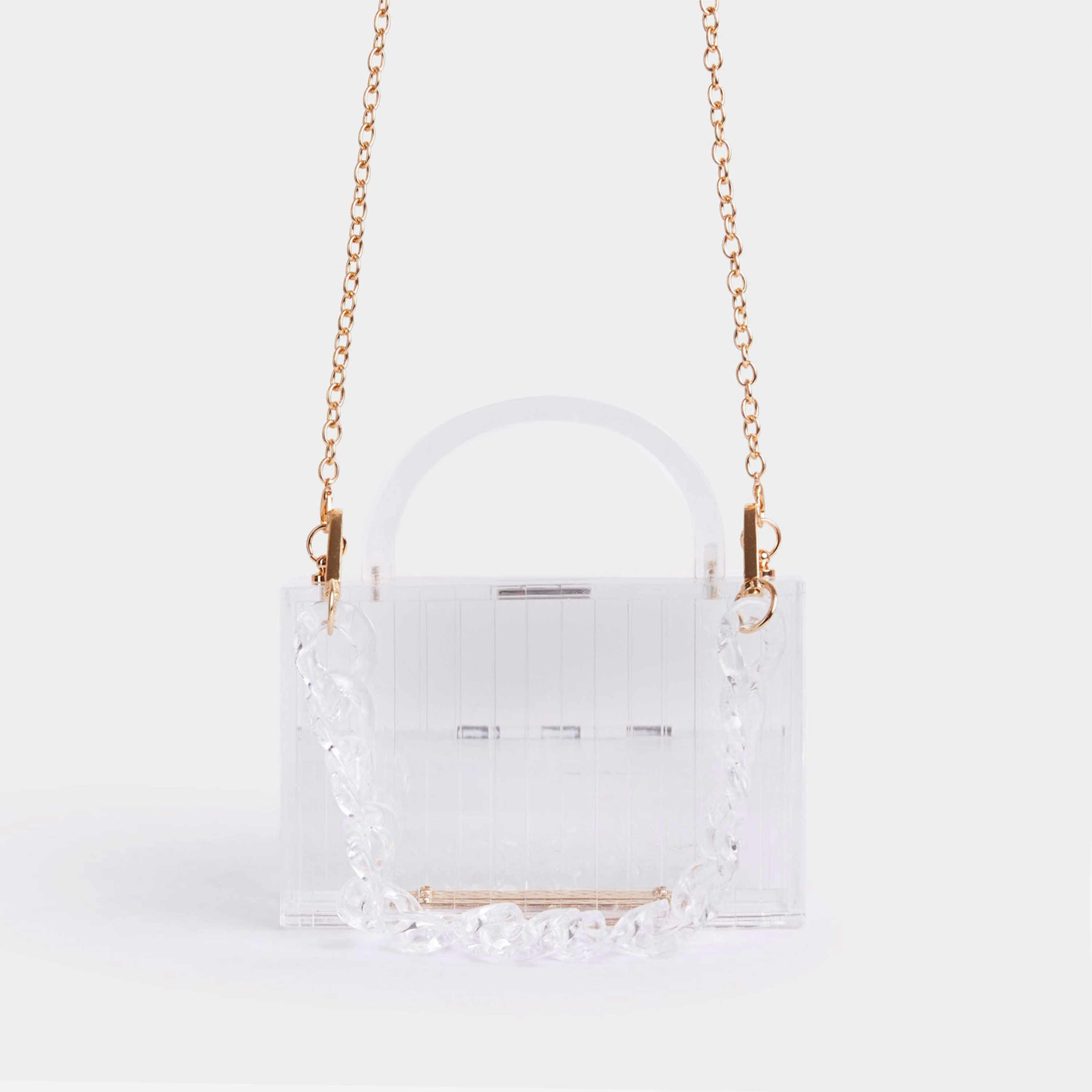 Maria Chunky Chain Box Bag In Clear Perspex