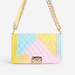 Jules Quilted Tie Dye Chain Shoulder Bag in Yellow Faux Leather