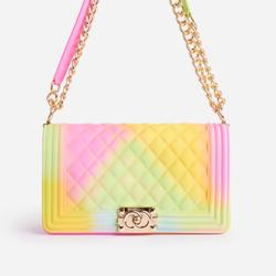 Jules Quilted Tie Dye Chain Shoulder Bag in Green Faux Leather