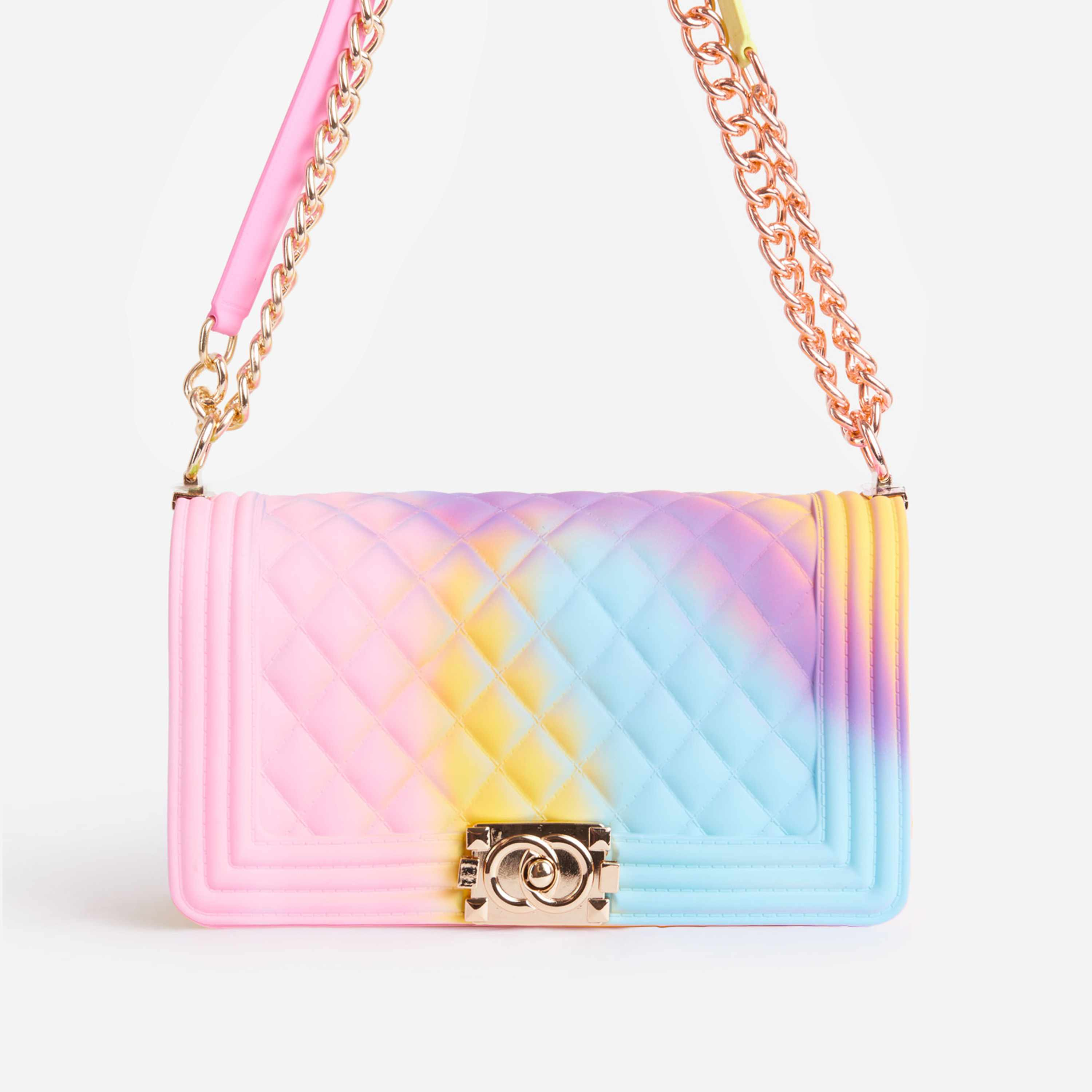 Jules Quilted Tie Dye Chain Shoulder Bag in Pink Faux Leather