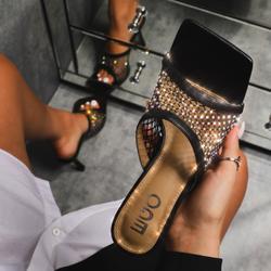 Koop Diamante Detail Fishnet Square Peep Toe Heel Mule In Black Faux Leather