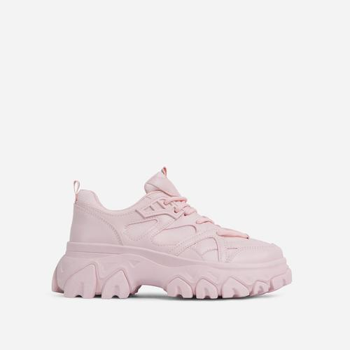 Lightning Lace Up Mesh Chunky Sole Trainer In Pink