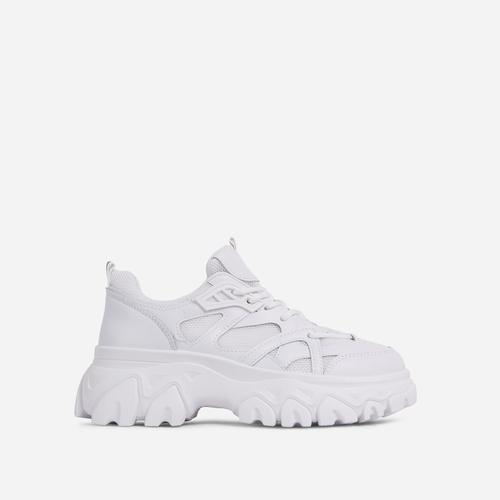 Lightning Lace Up Mesh Chunky Sole Trainer In White
