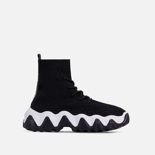 Spirit Lace Up Chunky Sole Sock Trainer In Black Knit