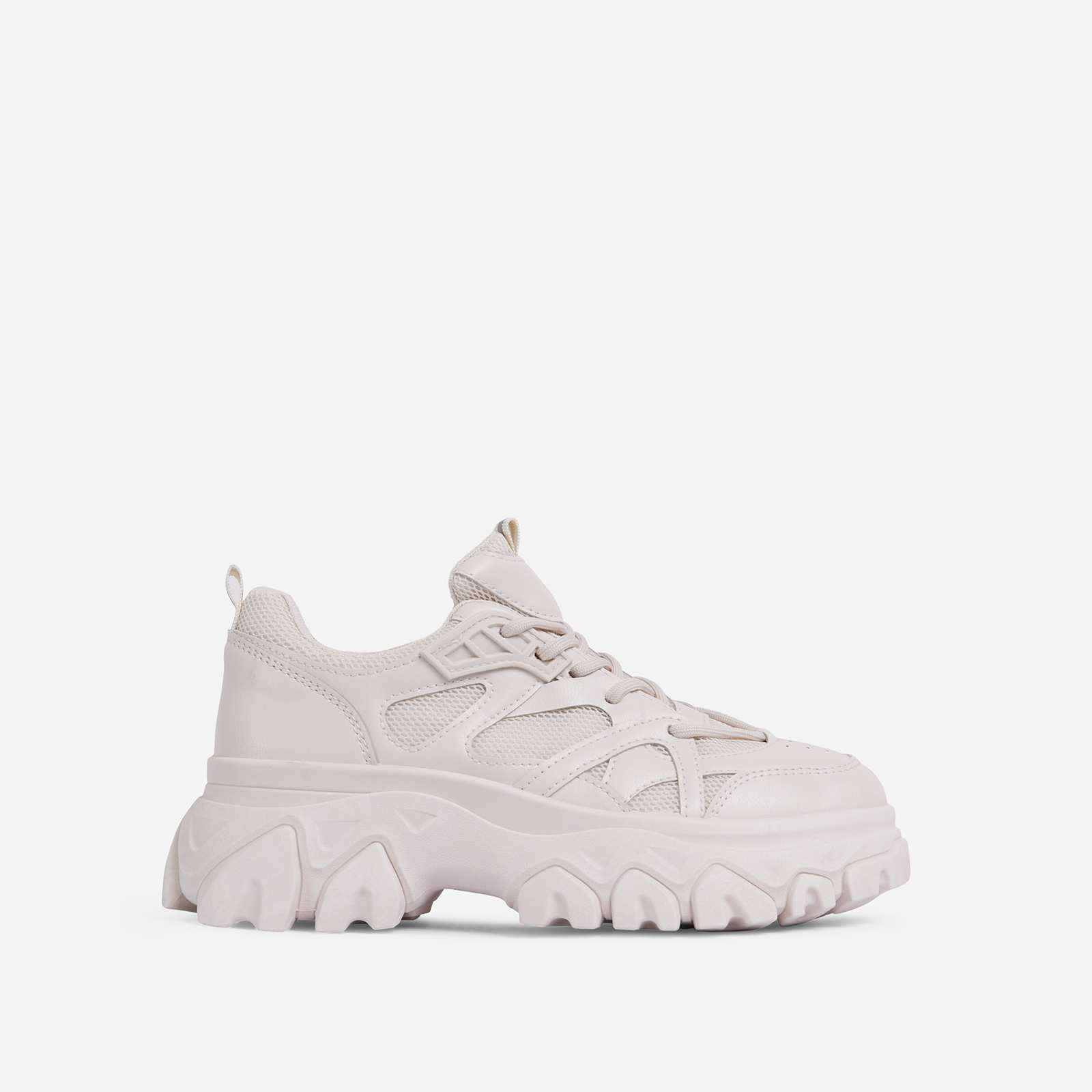 Lightning Lace Up Mesh Chunky Sole Trainer In Nude