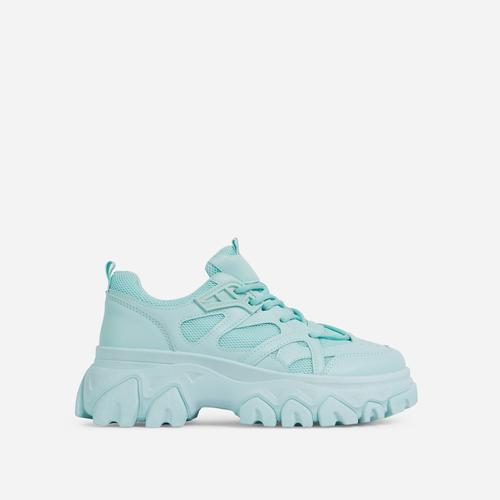 Lightning Lace Up Mesh Chunky Sole Trainer In Cyan Blue