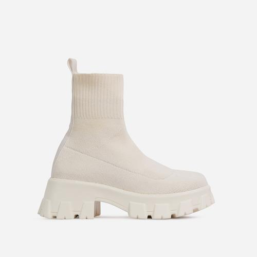 Don't-Trust Chunky Sole Ankle Chelsea Sock Biker Boot In Nude Knit