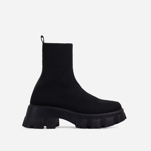Don't-Trust Chunky Sole Ankle Chelsea Sock Biker Boot In Black Knit
