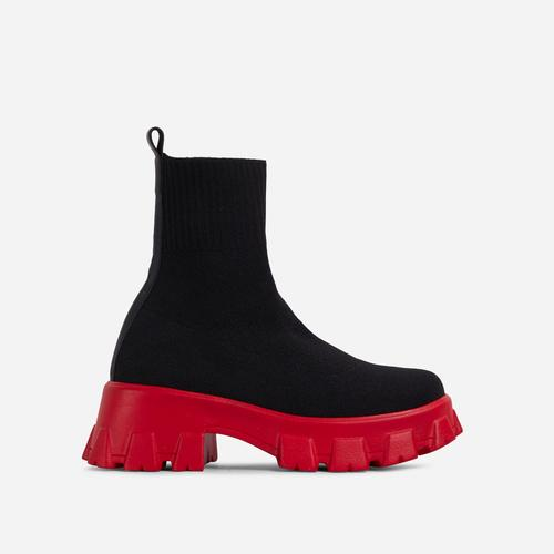 Don't-Trust Red Chunky Sole Ankle Chelsea Sock Biker Boot In Black Knit
