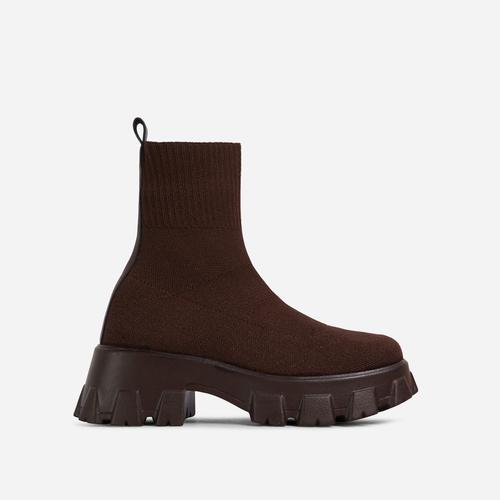 Don't-Trust Chunky Sole Ankle Chelsea Sock Biker Boot In Brown Knit