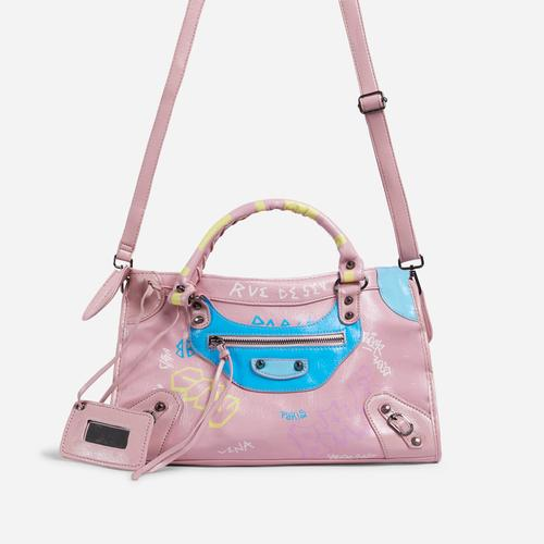 Doodle Graffiti Detail City Tote Bag In Pink Faux Leather