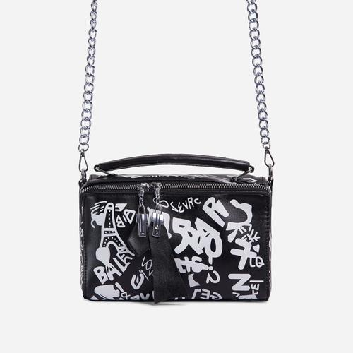 Hara Graffiti Detail Single Handle Vanity Bag In Black Faux Leather