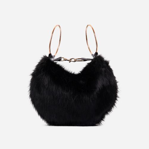 Viola Fluffy Cross Body Bag In Black Faux Fur