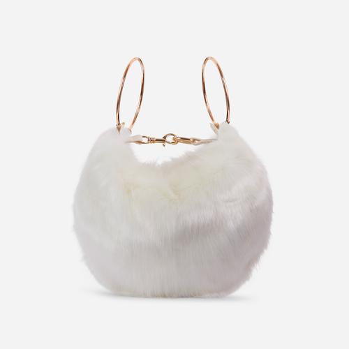 Viola Fluffy Cross Body Bag In White Faux Fur
