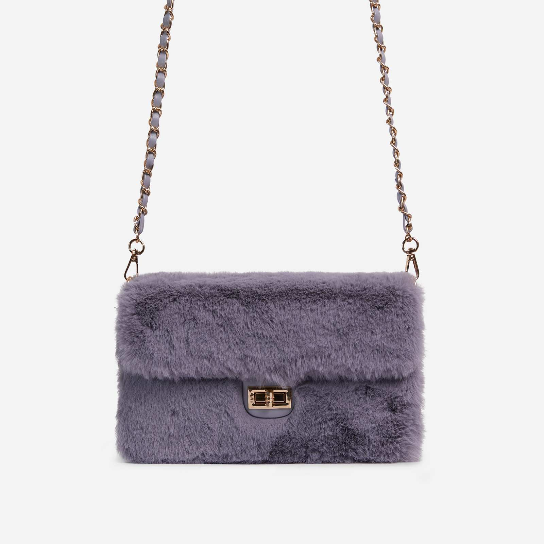 Erica Chain Strap Cross Body Bag In Grey Faux Fur