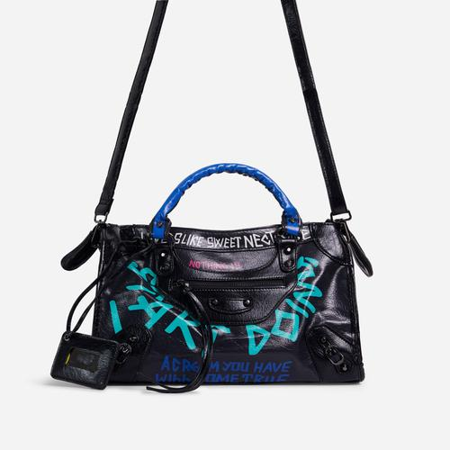 Doodle Graffiti Detail City Tote Bag In Black Faux Leather