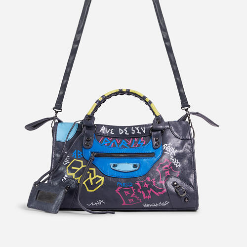 Doodle Graffiti Detail City Tote Bag In Dark Grey Faux Leather