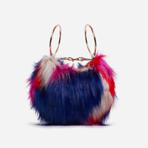 Viola Fluffy Cross Body Bag In Multi Colour Faux Fur