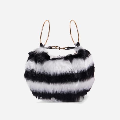 Viola Fluffy Cross Body Bag In Mono Faux Fur