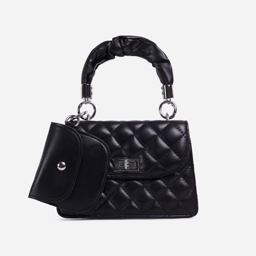 Linela Ruched Handle Quilted Grab Bag In Black Faux Leather