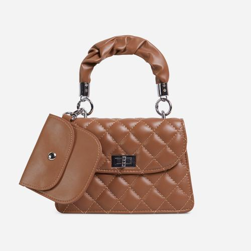 Linela Ruched Handle Quilted Grab Bag In Brown Faux Leather