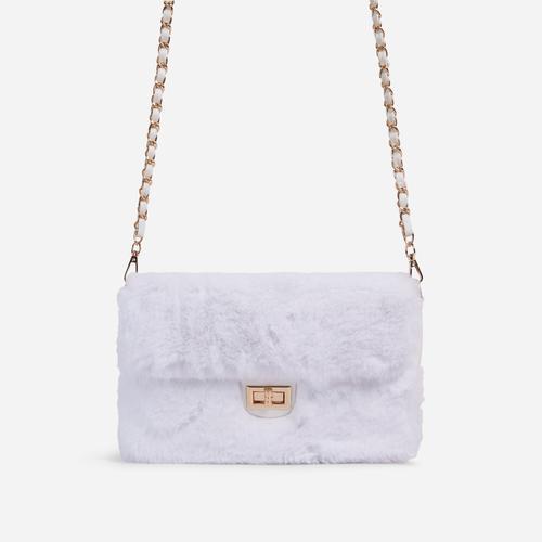 Erica Chain Strap Cross Body Bag In White Faux Fur