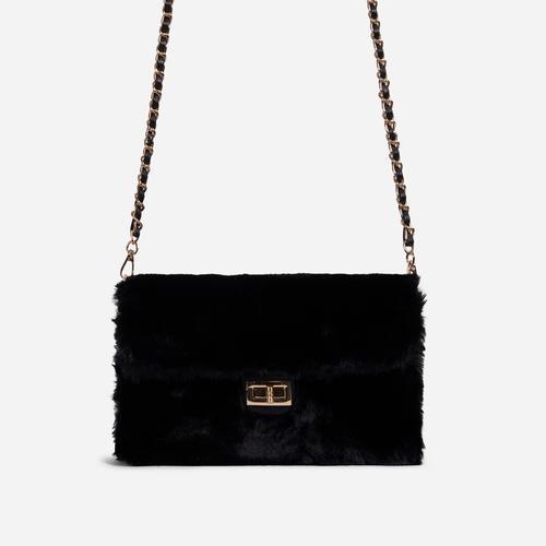 Erica Chain Strap Cross Body Bag In Black Faux Fur