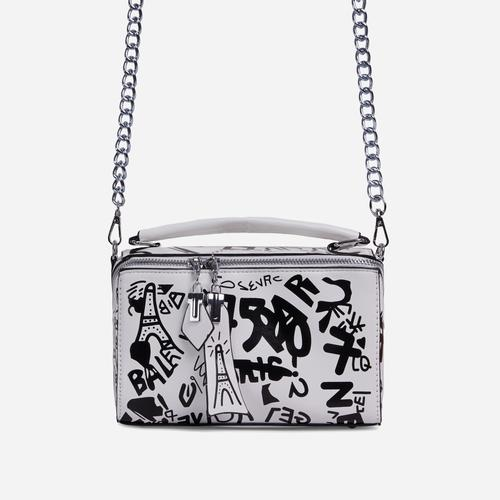 Hara Graffiti Detail Single Handle Vanity Bag In White Faux Leather