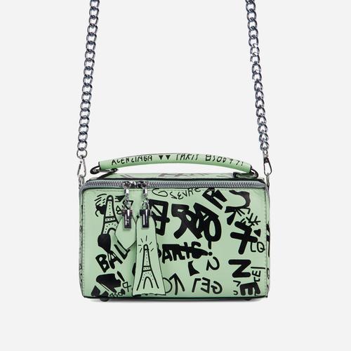 Hara Graffiti Detail Single Handle Vanity Bag In Green Faux Leather