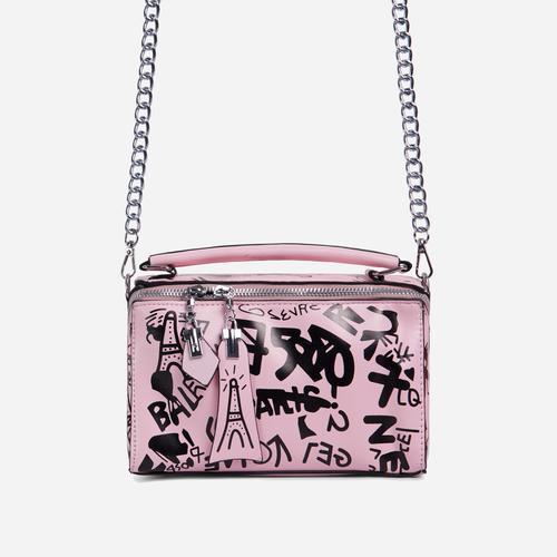 Hara Graffiti Detail Single Handle Vanity Bag In Pink Faux Leather