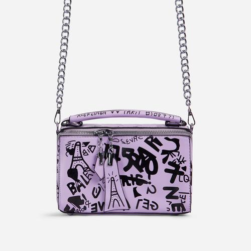 Hara Graffiti Detail Single Handle Vanity Bag In Lilac Faux Leather
