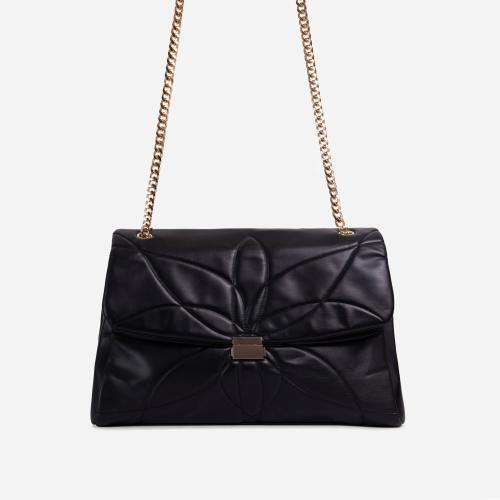 Liquor Chain Handle Detail Oversized Shoulder Bag In Black Faux Leather