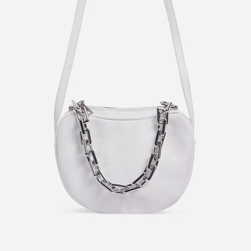 Brie Chain Detail Cross Body Bag In White Faux Leather