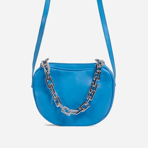 Brie Chain Detail Cross Body Bag In Blue Faux Leather