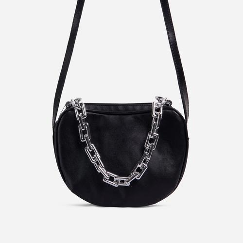 Brie Chain Detail Cross Body Bag In Black Faux Leather
