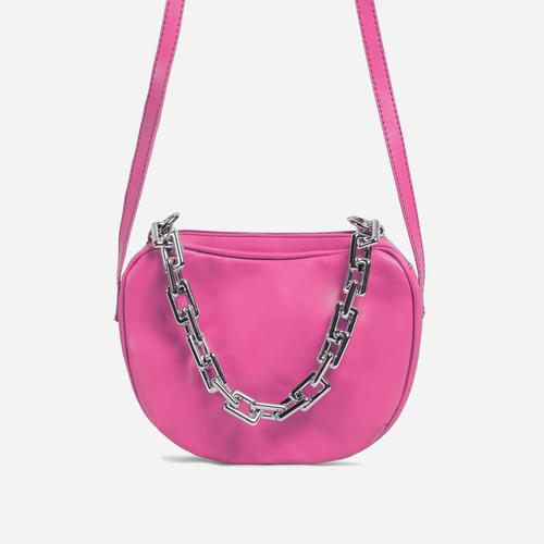 Brie Chain Detail Cross Body Bag In Pink Faux Leather