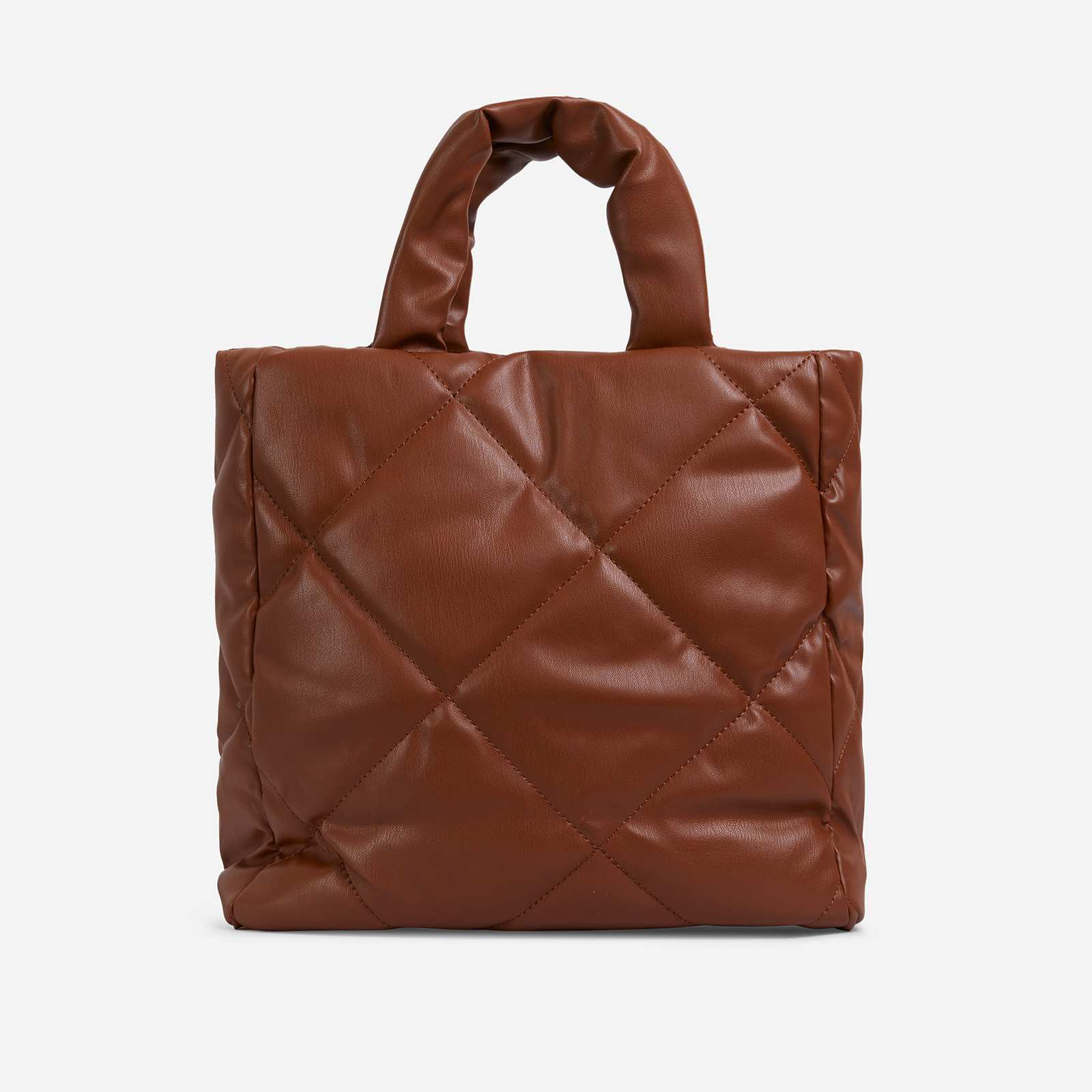 Fearn Large Quilted Tote Bag In Nude Faux Leather