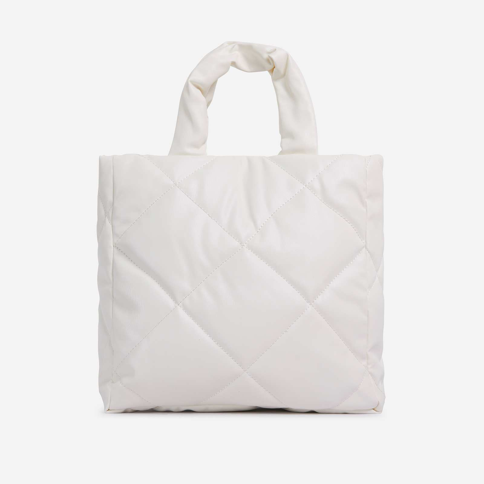 Fearn Large Quilted Tote Bag In White Faux Leather